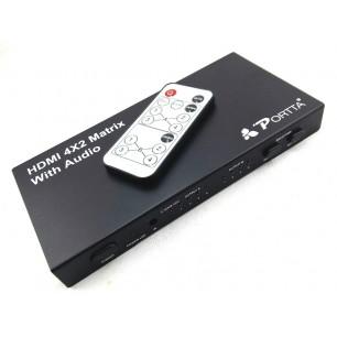 Divisor HDMI 4×2 MATRIX FullHD 3d com Saidas toslink + audio coaxial e saída P2