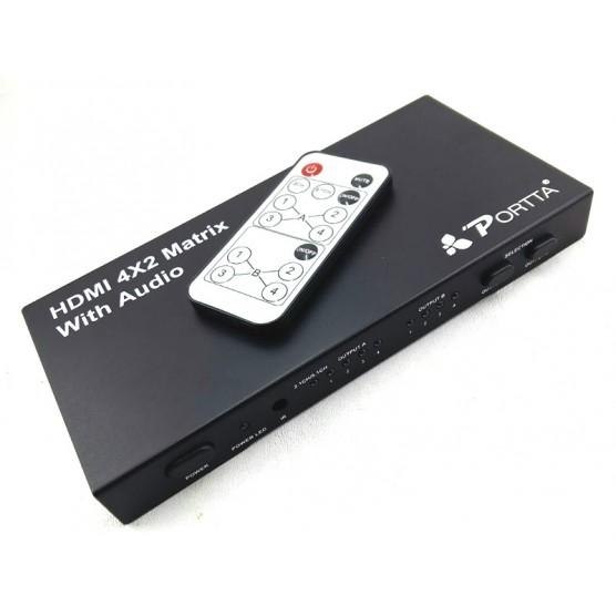 Divisor HDMI 4×2 MATRIX FullHD 3d com Saidas tooslink + audio coaxial e saída P2
