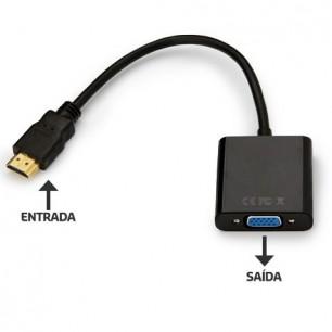 Cabo Conversor HDMI Macho x VGA Femea C/ Cabo de Áudio P2 Estéreo