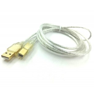 Cabo USB A M x B M 1.80 Metros Transparente Pontas de Ouro