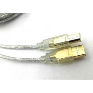 Cabo USB A M x B M 3,00 Metros Transparente Pontas de Ouro