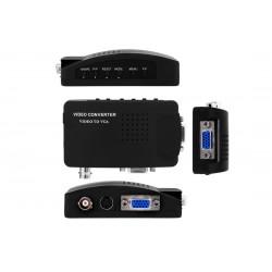 Conversor CCTV Composto, S-Vídeo e VGA BNC x VGA