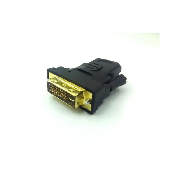 Adaptador HDMI fêmea x DVI macho 24+5 pinos com pontas de ouro