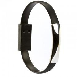 Pulseira Bracelete portátil USB V8 Micro para Smartphone Preta