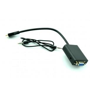 Conversor mini HDMI M x VGA F C/ áudio P2 1 Metro