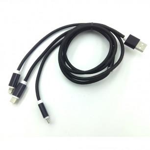 Cabo USB 3 em 1 USB-C - MicroUSB - Iphone