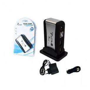 Mini HUB USB 2.0 de 7 Portas com fonte