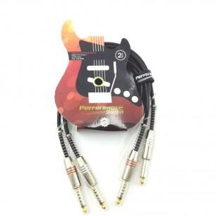 Cabo 2 P10 Mono x 2 P10 Mono de 2 Metros Plugs Metal