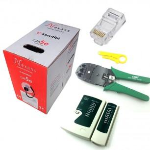 Kit Caixa de cabo de rede 305 Mts Nexans CAT5 + 10 Plugs Modular RJ45 + Alicate + Testador