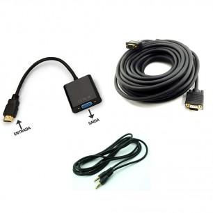 Kit Conversor HDMI Macho x VGA + Cabo VGA de 5 Metros + cabo p2