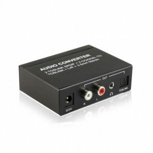 2 Toslink spdif + 2 coaxial para Toslink + L / R RCA + 3.5 MM áudio