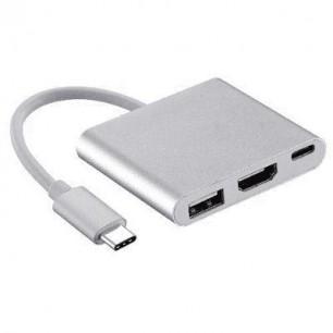 Cabo USB 3.1 Tipo C A Macho X USB 3.0/HDMI/Tipo C Fêmea de 15 CM