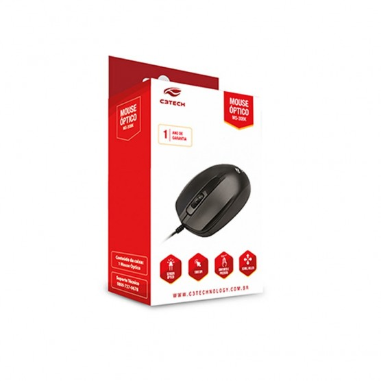 Mouse óptico preto C3tech 1000DPI MS-30BK
