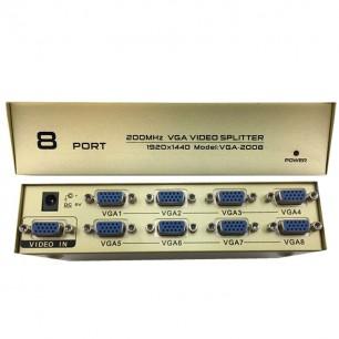Splitter VGA 1 x 8 Portas Extensor 200MHz Metal Gold