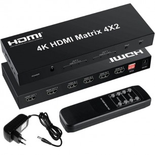 Distribuidor HDMI Matrix 4 x 2 portas Splitter Switcher 4k
