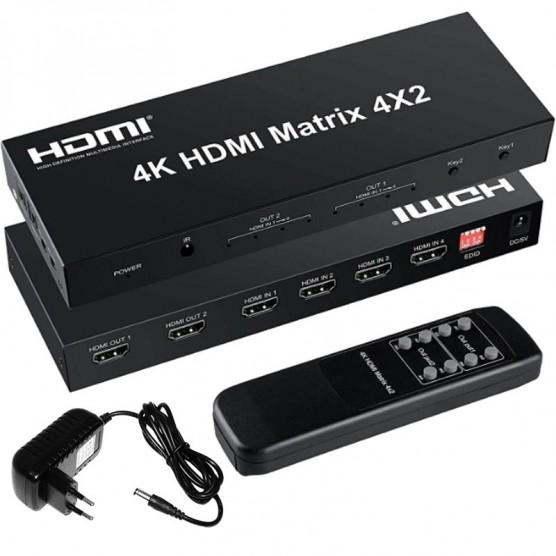 Distribuidor HDMI Matrix 4 x 2 portas Splitter Switcher 4k
