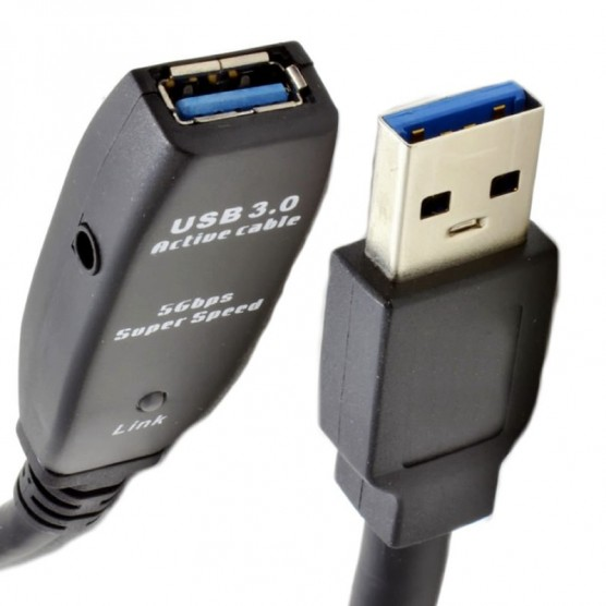 Extensor USB 3.0 Ativo com Repetidor A Macho X A Fêmea 5 Metros