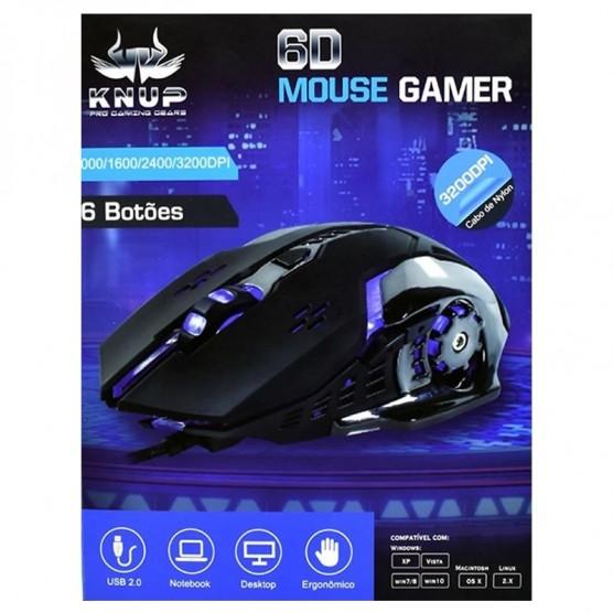 Mouse Gamer Pro Knup Kp V-37 3200dpi 6 botões