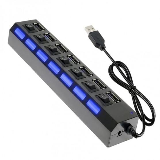 Hub USB 2.0 7 Portas com botões em Led