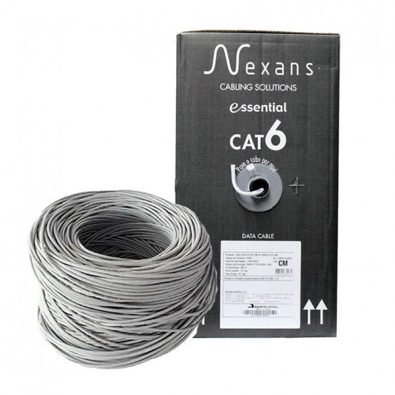 Cabo de rede Nexans Cat6e Essential Cinza