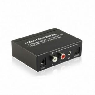 Conversor de áudio 2 vias coaxial e toslink para um toslink e R/L estéreo